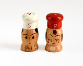 Vintage Wood Chef Salt and Pepper Shakers
