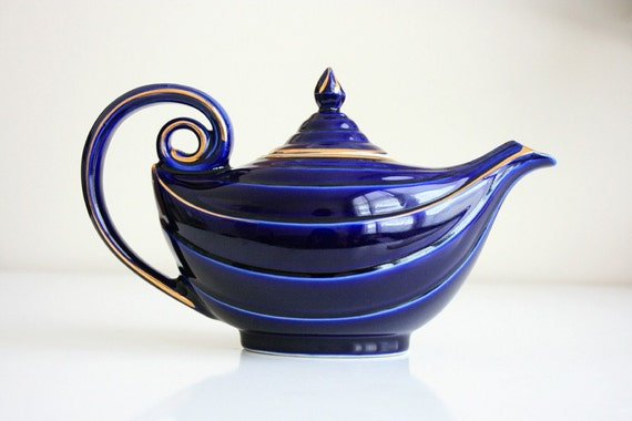 Breathtaking blue vintage hall aladdin teapot - Aladdin teapot ...