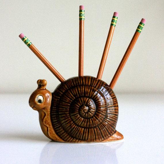 Pencil Holder Vintage Ceramic Snail