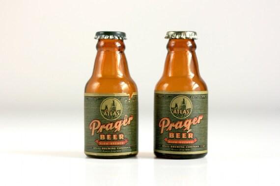 Vintage Prager Beer Bottle Salt and Pepper Shakers