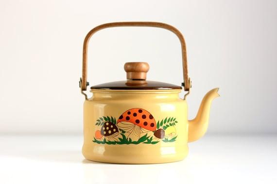 Vintage Merry Mushrooms Enamel Tea Kettle