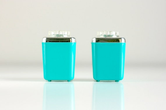 Vintage Aqua Salt and Pepper Shakers