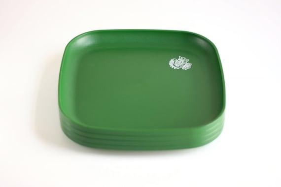 Vintage Green Tupperware Plates with Bird Design