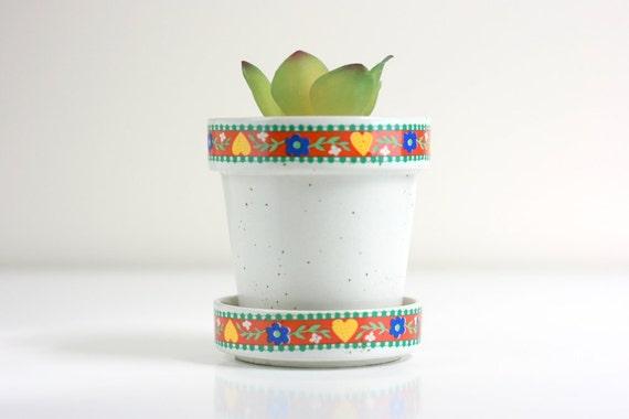 Vintage Ceramic Folk Art Planter