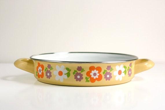 RESERVED until 12/28 - Vintage Enamel Flowers Pan
