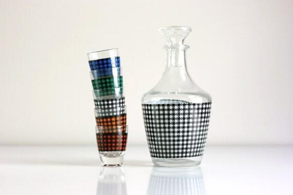 Houndstooth Shot Glasses and Decanter Set