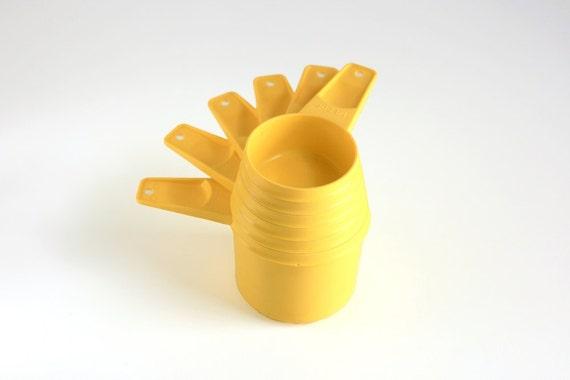 Vintage Yellow Tupperware Measuring Cups