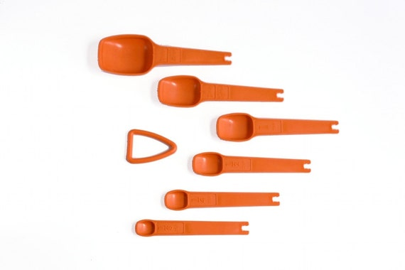 Vintage Orange Tupperware Measuring Spoons