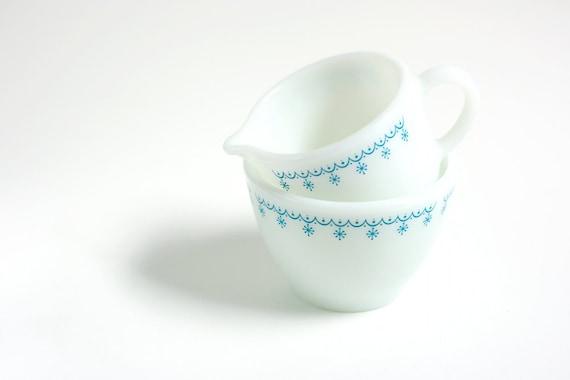 RESERVED Listing - Vintage Snowflake Cream and Sugar Set