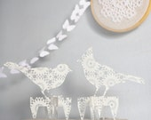 2 transparent acrylic plexi DOILY silhouette Ornaments birds CAKE TOPPERS