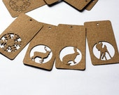 Craft ecru kraft cardboard paper hang tags : deer, rabbit, fawn, snowflake