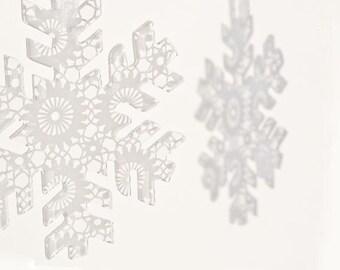 Transparent acrylic plexiglass doily silhouette ornament snowflake