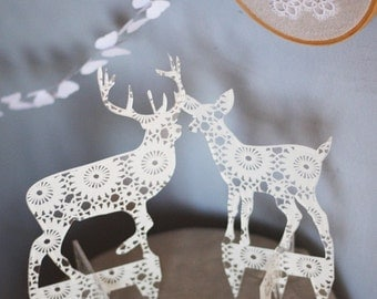 3 transparent acrylic plexi DOILY silhouette ornaments doe, deer and fawn CAKE TOPPERS