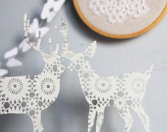 2 transparent acrylic plexi DOILY silhouette ornaments doe and deer CAKE TOPPERS