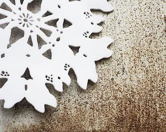 White acrylic plexiglass fawn silhouette ornament snowflake