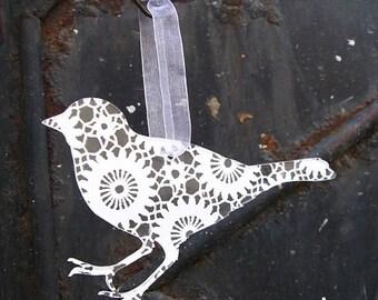 Acrylic plexiglas crochet lace print silhouette ornament bird, deer, bambi, rabbit or snowflake