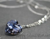 Mirabella in Denim... Simple Necklace Handmade with Swarovski Crystal