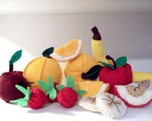 Felt Fruit Pattern - Instant Download - Apple Banana Strawberry Pattern - FRUITY FUN