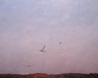 oil painting landscape birds original - Forn