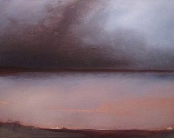 Overcast, original abstract landscape oil painting, print