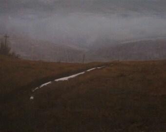 oil painting landscape - snow white tail