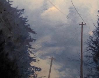 Plane, original landscape oil painting