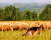 German Shepherd and Flock of Sheep Original Art 5x7 Matted Greeting Card