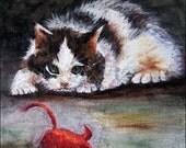 RED MOUSE Original Cat Painting Daily Painting 4 in series of 365 Pet Paintings