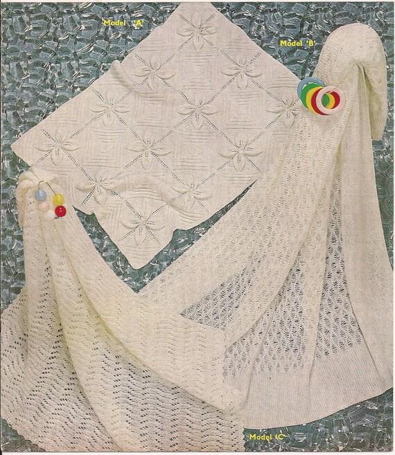 3 Large Babys Knitted Pram Cot Shawl Blankets Knitting