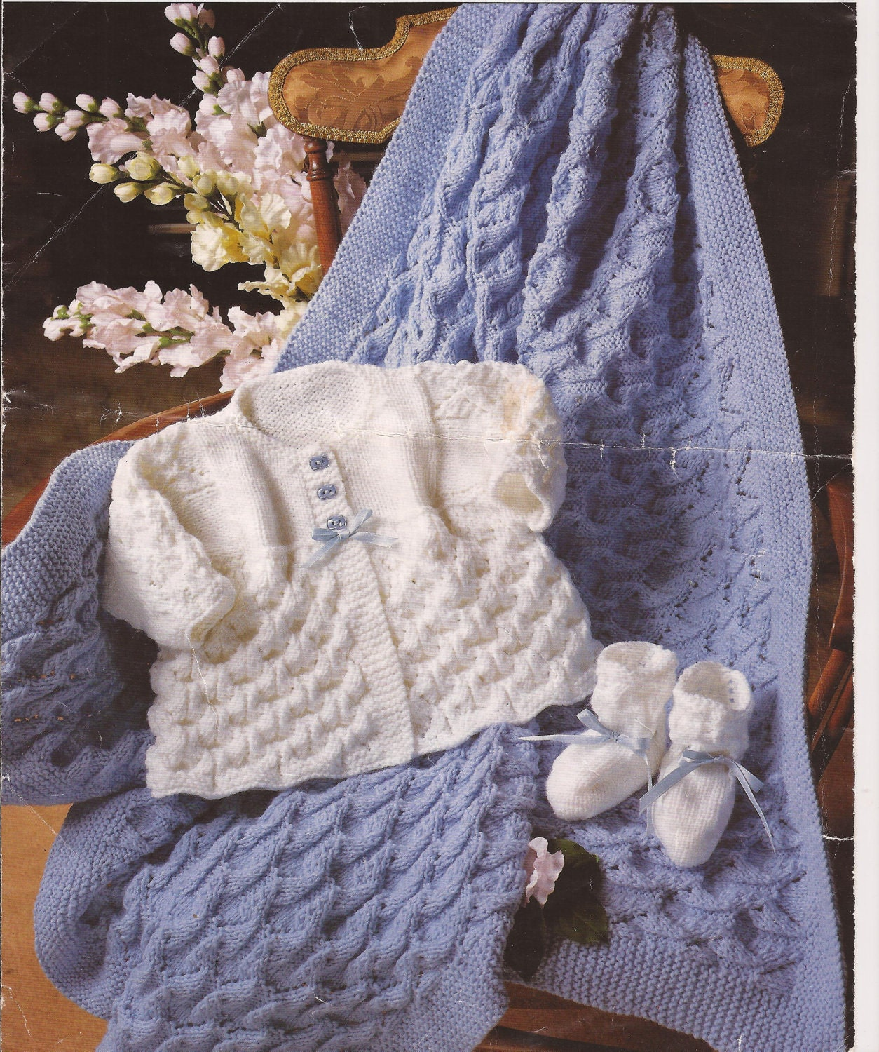 Baby Knitted Shawl/ Blanket Matinee Coat and Bootees Knitting