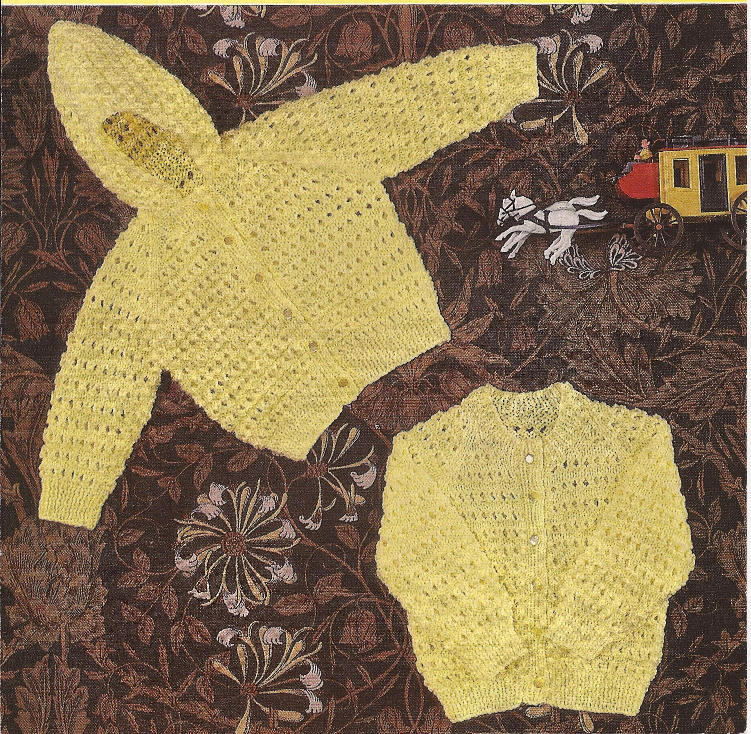 PDF Knitting Pattern Baby Hooded Jacket and Cardigan to fit
