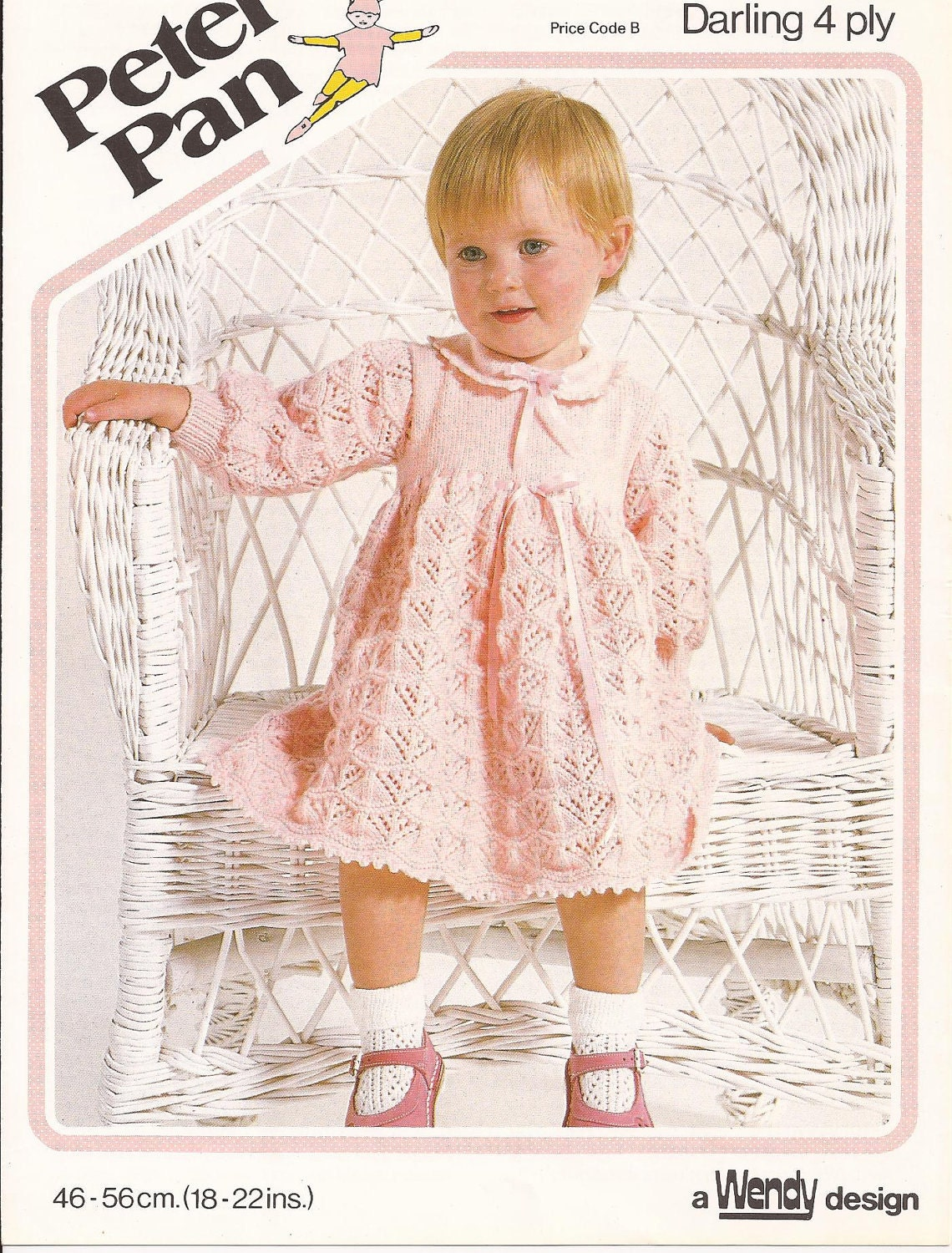Knitting Pattern Long Dress : Vintage Knitted Baby Lacy Long Sleeved Dress Knitting Pattern