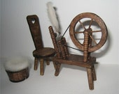 Miniature Tudor Spinning wheel, Dollhouse spin wheel,  chair and wool basket- 1/12th scale