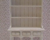 Kitchen Hutch or Dresser,  Shabby chic, white, twelfth scale dollhouse miniature