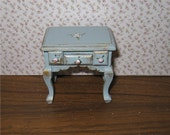 Duck egg blue  bedside chest, hand  painted with rose bouquets, twelfth scale miniature