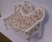 Sofa, Ladies boudoir, shabby chic.  a dollhouse miniature in twelfth scale