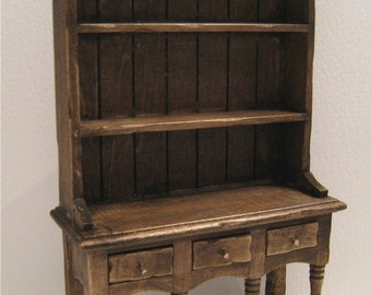 Miniature Kitchen Hutch, Dollhouse  Dresser,dark oak hutch, twelfth scale, dollhouse miniature