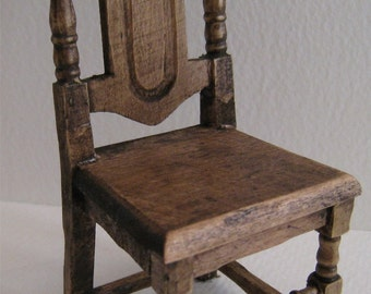 Dollhouse chairs, two chairs, country style, Tudor style, dark oak stain, rustic chair, twelfth scale,   dollhouse mini, dollhouse furniture
