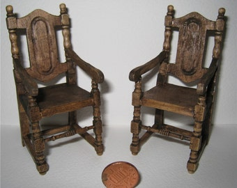 Miniature chairs, dollhouse arm chairs, dark oak set of chairs, twelfth scale, country set of  carver chairs,. a dollhouse mini