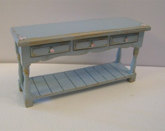 Dollhouse sideboard,  sideboard, table, duck egg blue, hand  painted with rose bouquets,