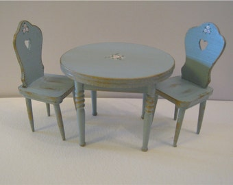Duck egg blue  table and two chairs, hand  painted with rose bouquets, twelfth scale miniature