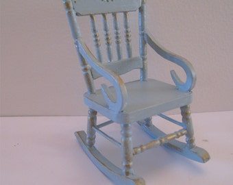 Duck egg blue Rocking chair, , hand  painted with rose bouquets, twelfth scale miniature