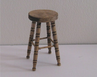 Dollhouse stools,Two  stools, tall, country style,twelfth scale dollshouse miniature