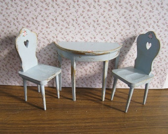 Dollhouse  Table and chairs    tete a tete set, hand  painted with rose bouquets,  duck egg blue, twelfth scale miniature