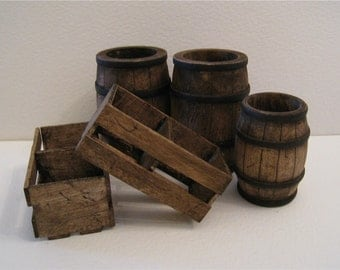 dollhouse barrels, crates, Tudor, Country, Medieval barrels,  twelfth scale,  dollhouse miniature,