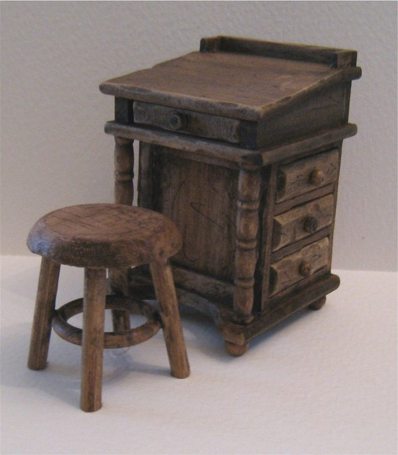Twelfth scale Country Desk and stool