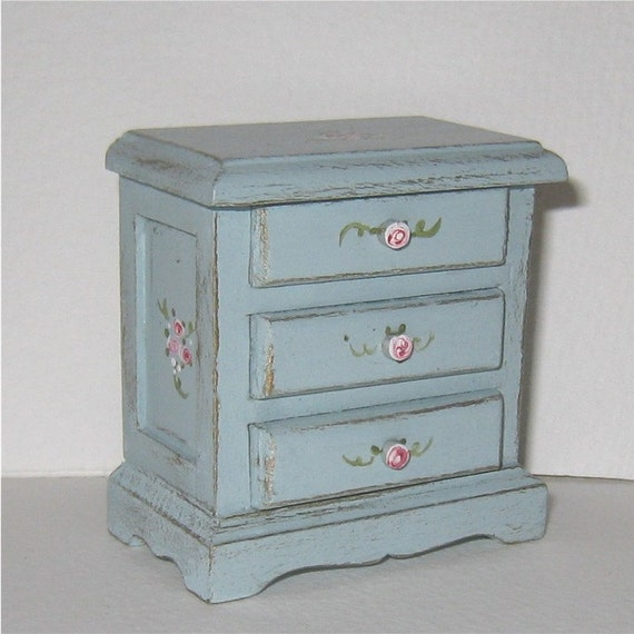 Twelfth scale Bedside chest-French Country Wild Rose pattern. Dollhouse mini
