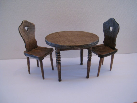 Table  and two  chairs, dollhouse miniature, twelfth scale, country look