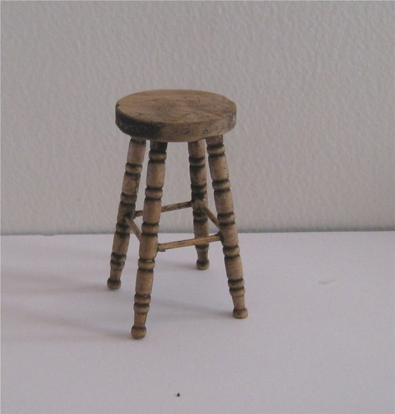 two stools, tall, country style,twelfth scale dollshouse miniature