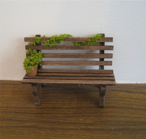 Garden bench, twelfth scale dollhouse miniature
